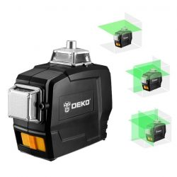 Deko DKLL12PB - 12 Lines 3D Green Laser Level Horizontal And Vertical Cross Lines With Auto Self-Leveling
