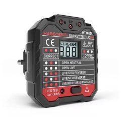 Habotest HT106D - dugalj teszter hibás bekötések ellenőrzéséhez: LCD panel, feszültségkijelzés, RCD teszt