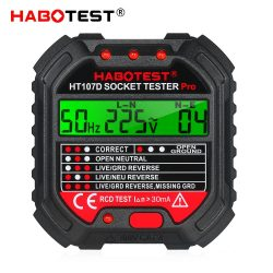 Habotest 107D - professional socket tester: LCD panel, RCD test, voltage & frequency measurement