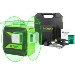 Huepar 603BT-H - 12 vonalas, 3D (3x360°) zöld lézer szintező Bluetooth-tal, kemény hordtáska
