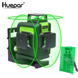 Huepar 903CG - 12 vonalas, 3D (3x360°) zöld szintező lézer