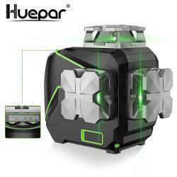 Huepar S03CG - 12 vonalas, 3D (3x360°) zöld lézer szintező Bluetooth-tal, LCD kijelzővel