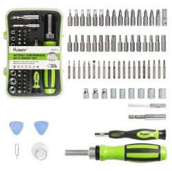 Huepar SD65 - 65 in 1 Precision Screwdriver Ratchet Set Includes Slotted/Phillips/Torx and More Bits, Repair Tool Kit